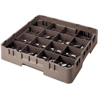 Cambro 16S1214167 Camrack 12 5/8 inch High Brown 16 Compartment Glass Rack