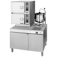 Cleveland 42-CKDM Classic Series 6 Pan Direct Steam Convection Floor Steamer with Boiler Base and 6 Gallon Steam Jacketed Kettle
