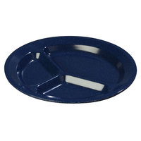 Carlisle 4351235 Dallas Ware 11 inch Cafe Blue Melamine 3-Compartment Plate - 48 / Case