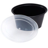 Newspring E505B ELLIPSO 5 oz. Black Oval Plastic Souffle / Portion Cup with Lid 500/Case
