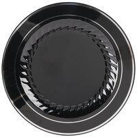 Fineline Silver Splendor 510-BKS Black 10 inch Plastic Plate with Silver Bands - 12 / Pack