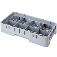Cambro 8HS318151 Soft Gray Camrack 8 Compartment 3 5/8 inch Half Size Glass Rack