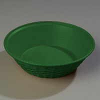 Carlisle 652409 WeaveWear Green Round Plastic Serving Basket 9 inch - 1.6 Qt. - 12/Case