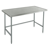 14 Gauge Advance Tabco Spec Line TVLG-245 24 inch x 60 inch Open Base Stainless Steel Commercial Work Table