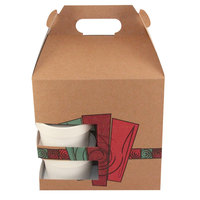 8 inch x 6 inch x 8 inch Barn Take Out Lunch Box / Chicken Box with Cup Holder and Harvest Design 100 / Case
