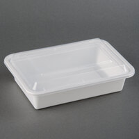 38 oz. White 8 inch x 6 inch x 2 inch Square End Microwavable Container with Lid - 150 / Case