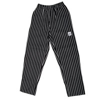 Chef Revival P040WS Size 4X Black EZ Fit Chef Pants with White Pinstripes - Poly-Cotton Blend