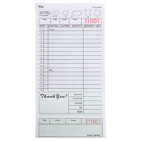 Choice 2 Part Segmented Green and White Carbonless Guest Check with Bottom Guest Receipt - 2500 Loose Packed Checks / Case