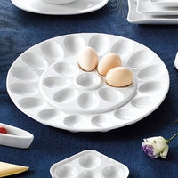 CAC PEG-R21 White China Egg Plate 13 inch - 12/Case