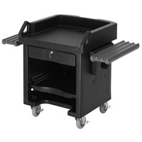 Cambro VCSWRHD110 Black Versa Cart with Dual Tray Rails and Heavy Duty Casters