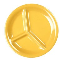 10 1/4 inch Yellow 3-Compartment Melamine Plate - 12/Pack