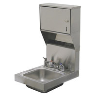 Advance Tabco 7-PS-83 Super Saver Hand Sink with Deck Mount Faucet, Soap, and Paper Towel Dispenser - 12 inch x 16 inch