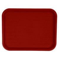 Carlisle CT101461 Cafe 10 inch x 14 inch Burgundy Standard Plastic Fast Food Tray