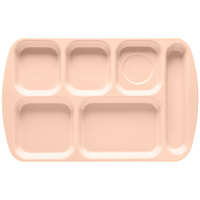 GET TR-151 Tan Melamine 10 inch x 15 1/2 inch Right Hand 6 Compartment Tray - 12 / Pack
