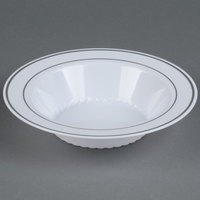 Fineline Silver Splendor 512-WH White 12 oz. Plastic Soup Bowl with Silver Bands - 15 / Pack