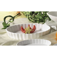 CAC QSV-11 White Fluted Oval Serving Dish 11 inch x 8 inch - 12/Case