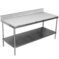 Advance Tabco SPS-306 Poly Top Work Table 30 inch x 72 inch with Undershelf and 6 inch Backsplash