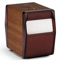 Vollrath 5509-12 Two Sided Tabletop Lowfold Napkin Dispenser with Brown Faceplate - Walnut