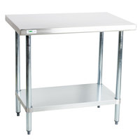 Regency 18 Gauge 30 inch x 36 inch 304 Stainless Steel Commercial Work Table with Undershelf
