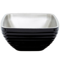 Vollrath 4763560 Double Wall Square Beehive 5.2 Qt. Serving Bowl - Black Black