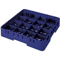 Cambro 16S1214186 Camrack 12 5/8 inch High Navy Blue 16 Compartment Glass Rack