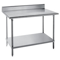 """Advance Tabco KMS-367 36"""" x 84"""" 16 Gauge Stainless Steel Commercial Work Table with 5"""" Backsplash and Undershelf"""
