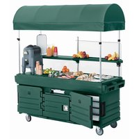 Cambro CamKiosk KVC856C519 Green Vending Cart with 6 Pan Wells and Canopy