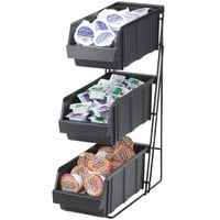 Cal-Mil 841 Iron Three Tier Condiment Display with Black Bins - 14 inch x 9 inch x 7 inch