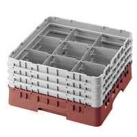 Cambro 9S1114416 Cranberry Camrack 9 Compartment 11 3/4 inch Glass Rack