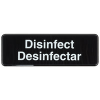 Tablecraft 394553 Disinfect / Disinfectar Sign - Black and White, 9 inch x 3 inch