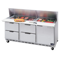 Beverage-Air SPED72-12-4 72 inch Refrigerated Salad / Sandwich Prep Table with One Door and Four Drawers