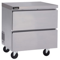 Delfield GUR27P-D 27 inch Undercounter Refrigerator with Two Drawers and 3 inch Casters - 8.2 Cu. Ft.