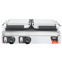 Vollrath 40795 21 inch x 9 inch Dual Grooved Top & Bottom Panini Sandwich Grill 220V