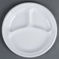 Dart Solo 9CPWF 9 inch White 3 Compartment Famous Service Impact Plastic Plate - 125 / Pack