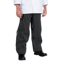 Chef Revival P040WS Size 2X Black EZ Fit Chef Pants with White Pinstripes - Poly-Cotton Blend