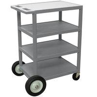 Luxor BCB45 Gray 4 Shelf Serving Cart with Rear Big Wheels - 18 inch x 24 inch x 39 inch
