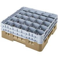 Cambro 25S900184 Camrack 9 3/8 inch High Beige 25 Compartment Glass Rack