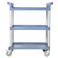 33 1/2 inch x 16 1/8 inch x 37 inch Gray Three Shelf Utility Cart / Bus Cart