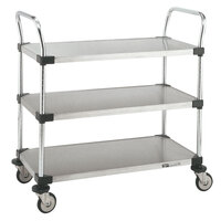 Metro MW208 Super Erecta 24 inch x 36 inch x 39 inch Three Shelf Standard Duty Stainless Steel Utility Cart