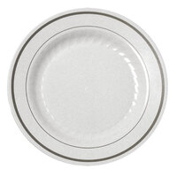 Fineline Silver Splendor 507WH White 7 inch Plastic Plate with Silver Bands - 150 / Case
