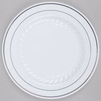 Fineline Silver Splendor 507-WH 7 inch White Plastic Plate with Silver Bands - 150 / Case