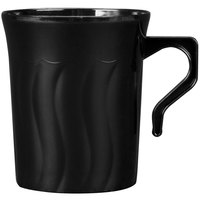 Fineline Flairware Black 208-BK 8 oz. Plastic Coffee Mug - 8 / Pack
