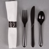 Hoffmaster 119971 Silver Swirl CaterWrap 17 inch x 17 inch Pre-Rolled Linen-Like White Napkin and Black Heavy Weight Plastic Cutlery Set 50 / Pack