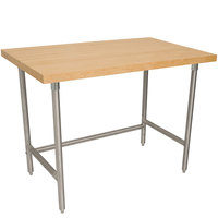 Advance Tabco TH2S-245 Wood Top Work Table with Stainless Steel Base - 24 inch x 60 inch