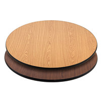 "Lancaster Table &amp&#x3b; Seating 36"" Laminated Round Table Top Reversible Walnut / Oak"