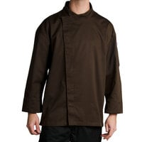 Chef Revival J113EXP-M Knife and Steel Size 42 (M) Espresso Brown Customizable Chef Jacket with 3/4 Sleeves and Hidden Snap Buttons - Poly-Cotton