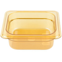 Carlisle 3088313 StorPlus 1/6 Size Amber High Heat Food Pan - 2 1/2 inch Deep