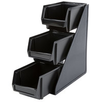 Vollrath 4842-06 Traex Black Self-Serve Condiment Bin Stand Set with 3-Tier Stand and 8 inch Condiment Bins