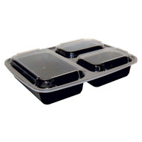 Newspring NC-333-B Black 32 oz. VERSAtainer 3 Compartment 7 1/2 inch x 9 7/8 inch x 1 3/4 inch Rectangular Microwavable Container with Lid - 150/Case