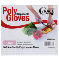 Choice Disposable Poly Gloves - Large 100 / Pack for Food Service
